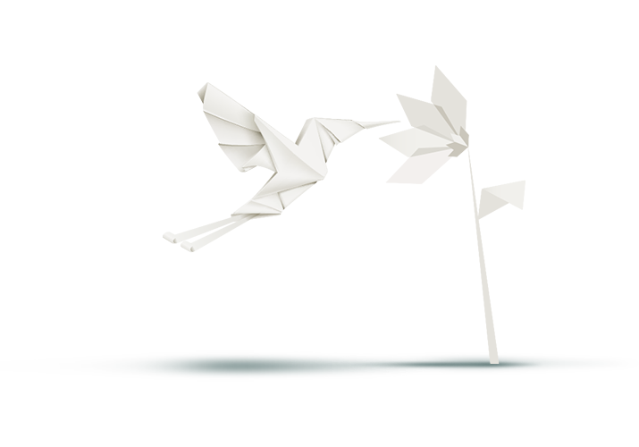 Origami bird with flower